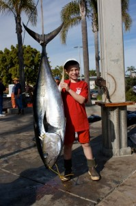 9-Year Old TJ Ponder wwith his 146# Yellowfin Tuna